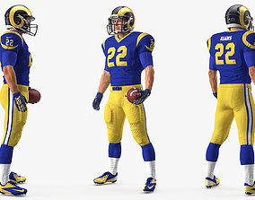American Football Player Los Angeles Rams Standing Pose 3D