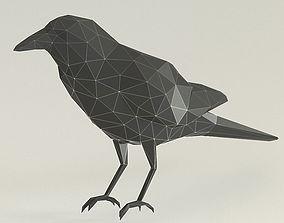 low poly crow 3D printable model