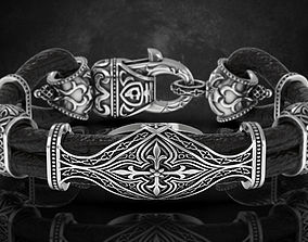 Stylish antique bracelet with patterns 3D print model 2