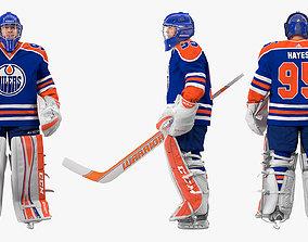 Edmonton Oilers Hockey Goalkeeper Standing Pose 3D model