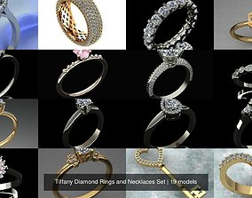 Tiffany Diamond Rings and Necklaces Set 3D