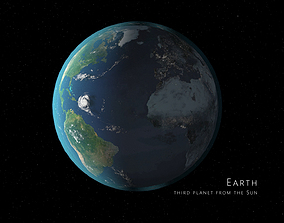 Earth 3d max corona rander model animated