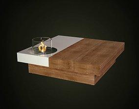Minimalistic Modern Glass Fireplace 3D