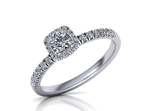 3D print model Halo Engagement ring Own design 0177