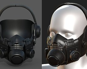 Gas mask black plastic protection isolated scifi 3D asset