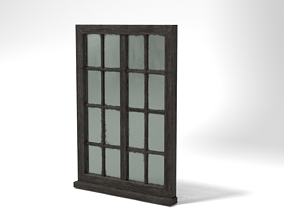 Medieval Window Glass and Wood Two 3D Model game-ready
