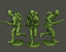 American soldier ww2 run A1 3D print model