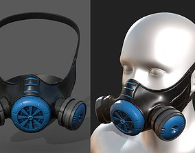 PBR Gas mask helmet 3d model military combat fantasy