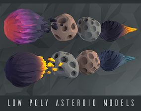 Low poly Asteroids 3D asset