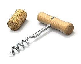 Corkscrew with Cork 3D model