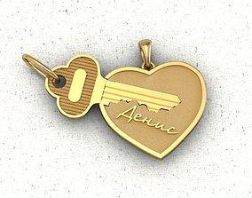 pendants keys to the heart for lovers 3D printable model