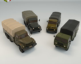 3D model Low Poly Military Truck Pack 01