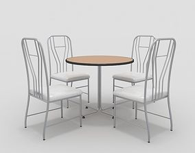 glass 3D model Table with Chairs