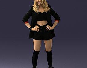 Girl in black mini skirt 0324 3D model