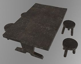 Medieval wooden table 3D asset