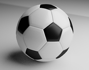 Lowpoly Black and White Soccer Ball 3D realtime