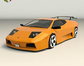 3D asset Low Poly Sports Car 02