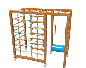 Wooden Playground Rope Climb For Kid and Games 3D model