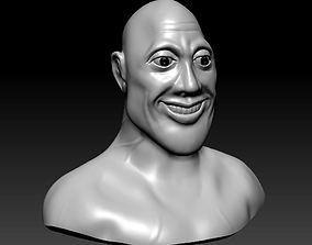 Stylized Rock Dwayne Johnson High 3D printable model 3