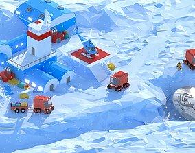 3D asset LowPoly Antarctic Station