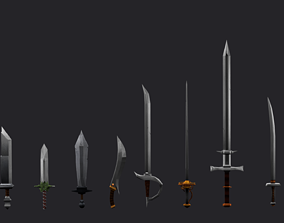 3D model Low Poly Stylized Sword Pack - 10 Various Swords