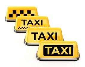 3D Taxi Sign Set