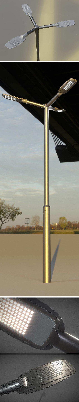 Scifi City Lights - Street Light 12 with Pole 3 Version 3 - Blender-2.80.1
