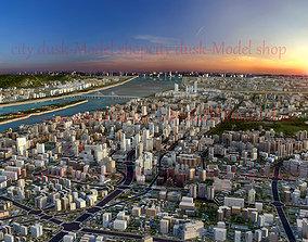 dusk scene of city 3D asset