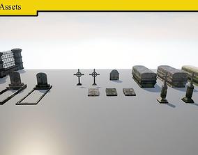 3D model VR / AR ready Cemetery Pack