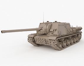 3D Tank ISU 122 Russian Clay V Ray
