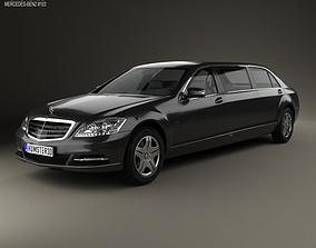 3D model Mercedes-Benz S-Class W221 Pullman 2012