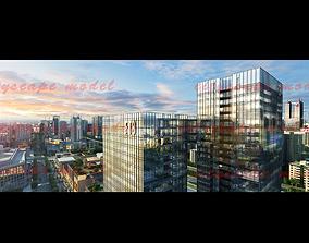 3D model dusk cityscape