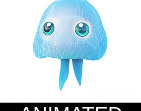 3D asset Moon Jelly Fish Cartoon Style Animated