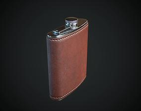3D model low-poly PBR Hip Flask
