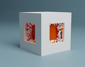 3D Abstract Splinter Cube