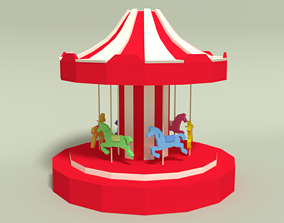 3D asset Low Poly Cartoon Carousel