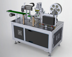3D animated Circular arc surface labeling machine