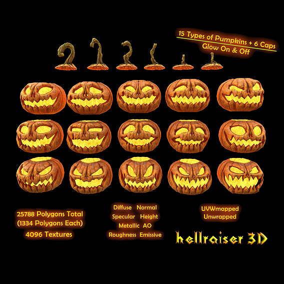 Pumpkins Set - PBR - Textured - Glow On Off
