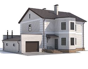 3D model House with garage