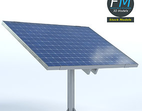 3D model Solar panel on pole stand