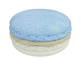 3D model Blue and white macaroon with caramel cream