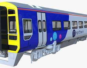 railway 3D model British train class 158