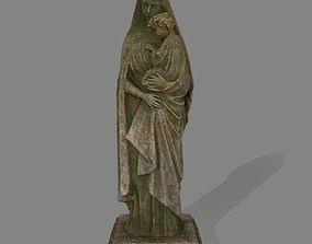 3D model game-ready Woman Statue rocks