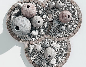 Flowerbed sphere stone decor 3D