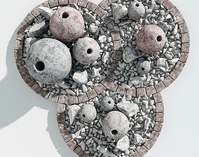 Flowerbed sphere stone decor 3D