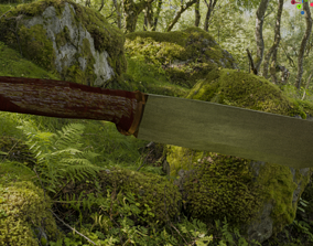 Low polly Knife Jungle Machete 3D model animated