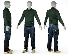 Male Casual Outfit 13 Pull Pants Shoes 3D model
