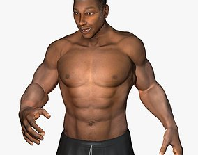 3D African American Male Muscular Rigged