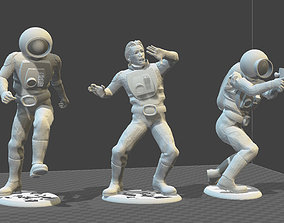 3 X RETRO STYLE SPACEMEN TOY SOLDIERS 3D print model