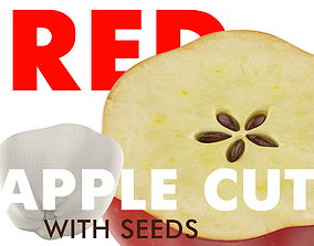 3D model RED APPLE CUT WITH SEEDS